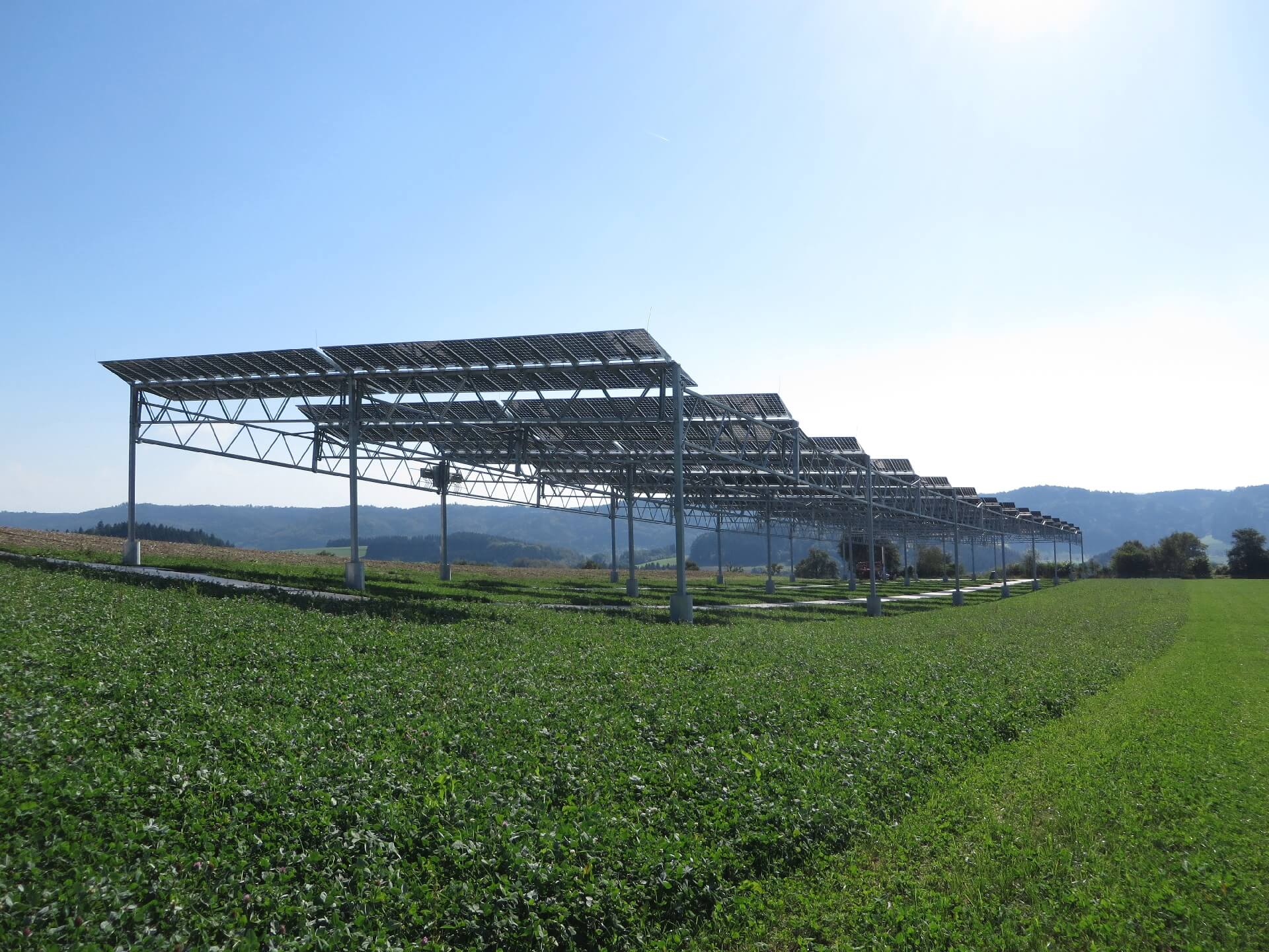 The agrophotovoltaics (APV) pilot plant located in Heggelbach near Lake Constance