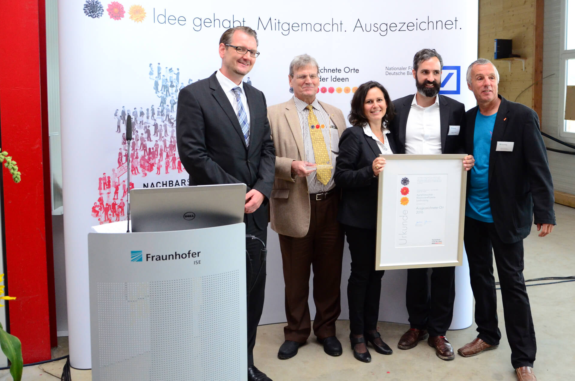"The agrophotovoltaic pilot plant received the award ""Germany – Land of Ideas"""