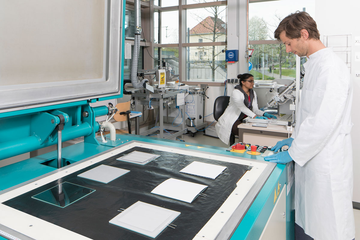 Lamination of six small scale modules at Fraunhofer ISE Module-TEC.