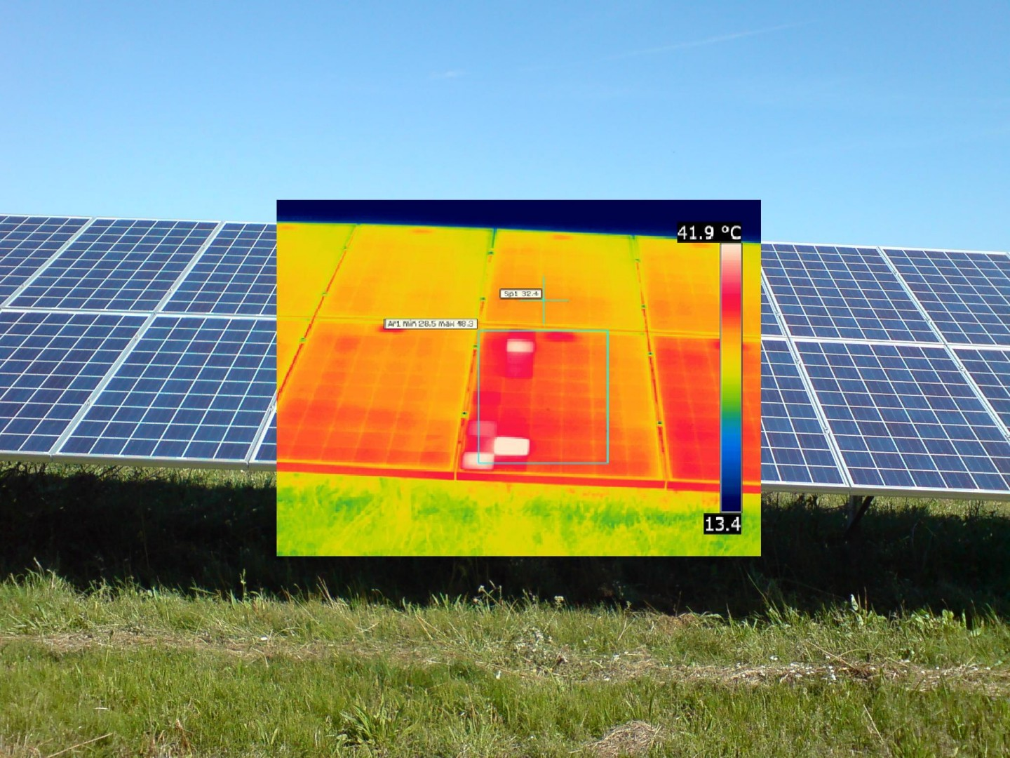 Thermographic investigation of the solar generator carried out with a high resolution IR camera.